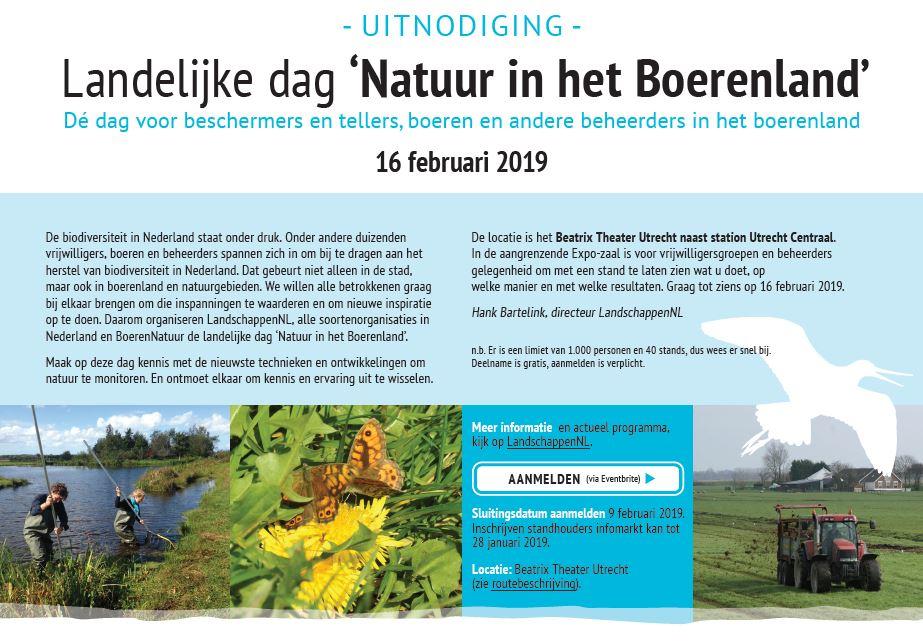 Uitnodiging Landelijke dag 'Natuur in het Boerenland'' 16 februari 2019